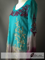 Purple grey and baby blue Embroidered Dress
