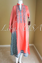 Pink and Grey Embroidered Cotton Suit