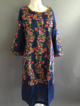 Ethnic Blue Embroidered shirt with silk duputta