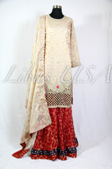 Golden and Red Bridal/Engagement Dress