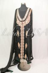 Black Chiffon Heavy Work Dress with Green Finishing
