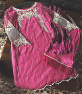 Pink Mauve Formal Heavy Embroidered Dress