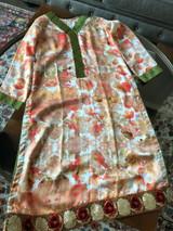 Watercolor silk satin top