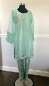 Sea Green 2 piece Organza