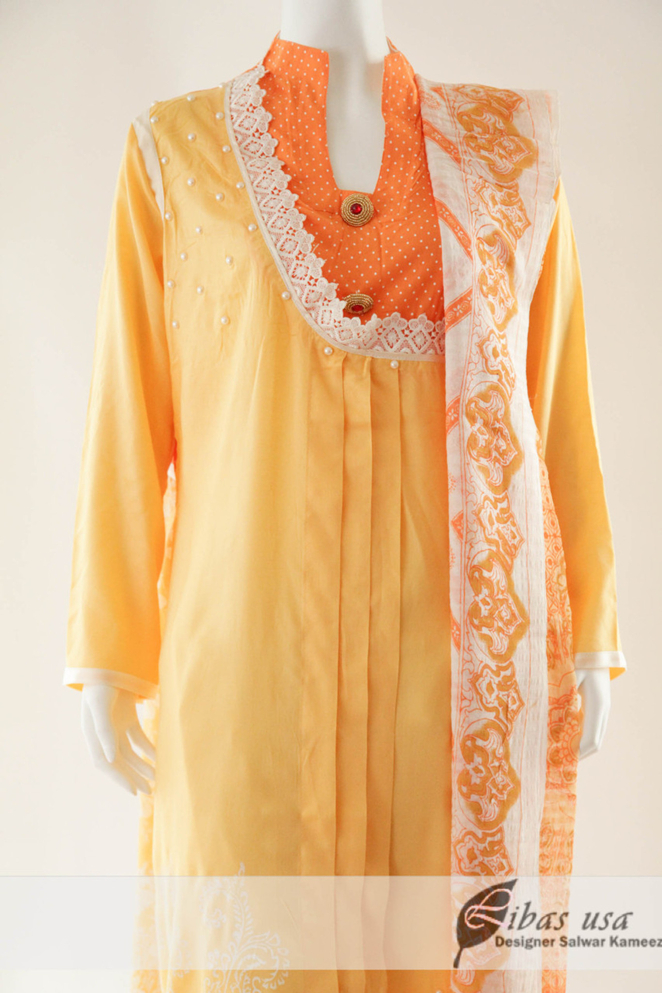 Yellow and orange Lawn Suit
