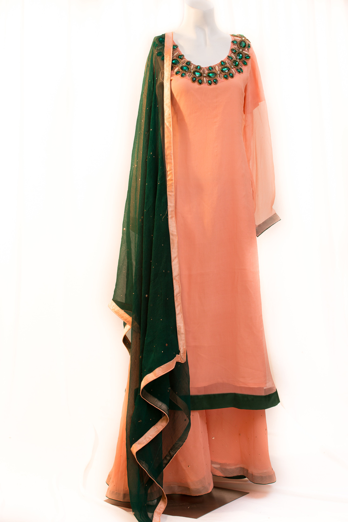 Peach and Green Chiffon Dress with Mukesh Work
