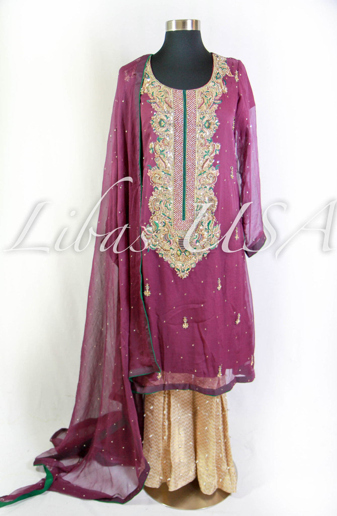 Purple Embroidered Chiffon Dress with Heavy Neck