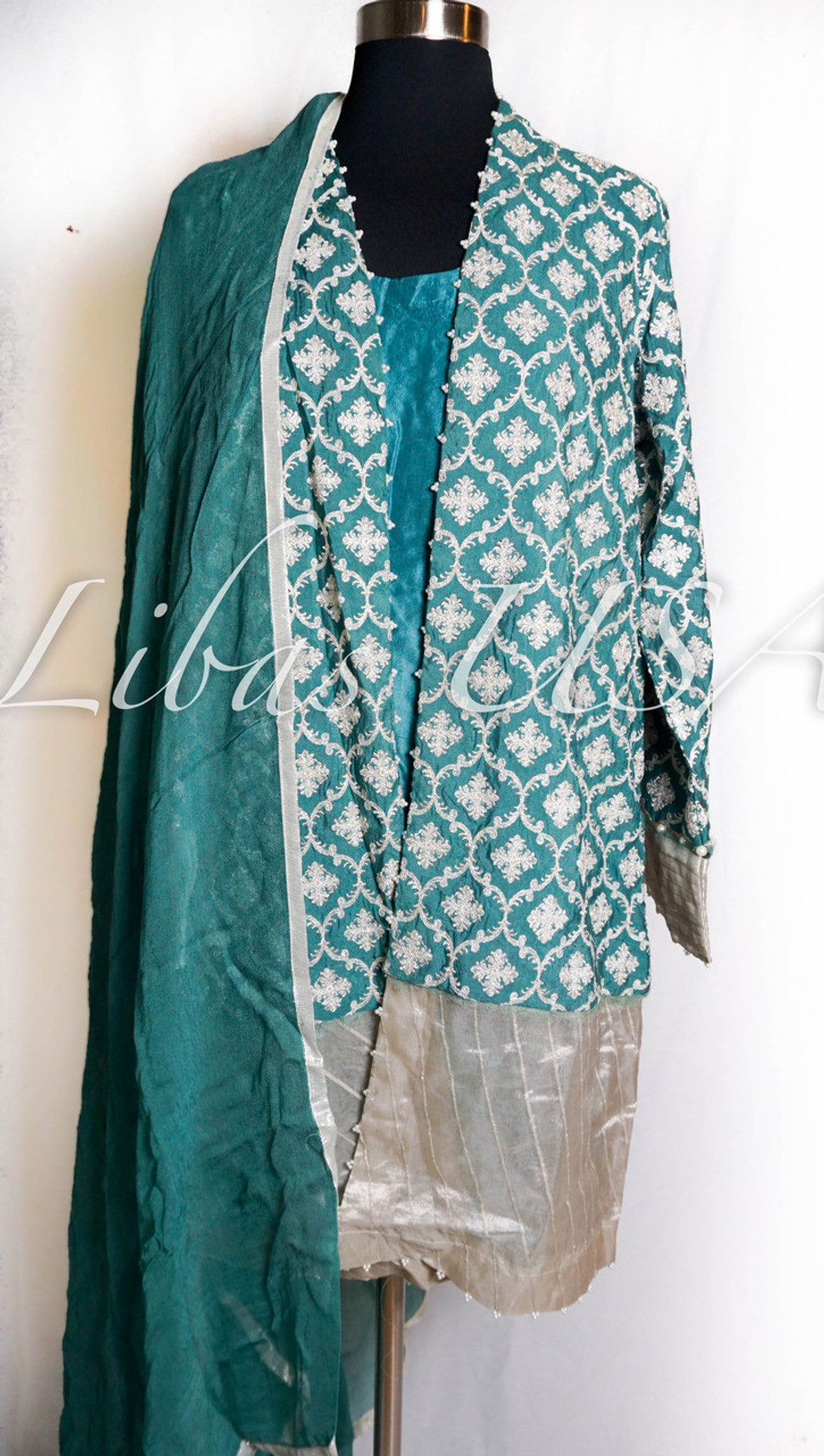 Sapphire Luxury Pret Jacket and Matching inner and pant Blue