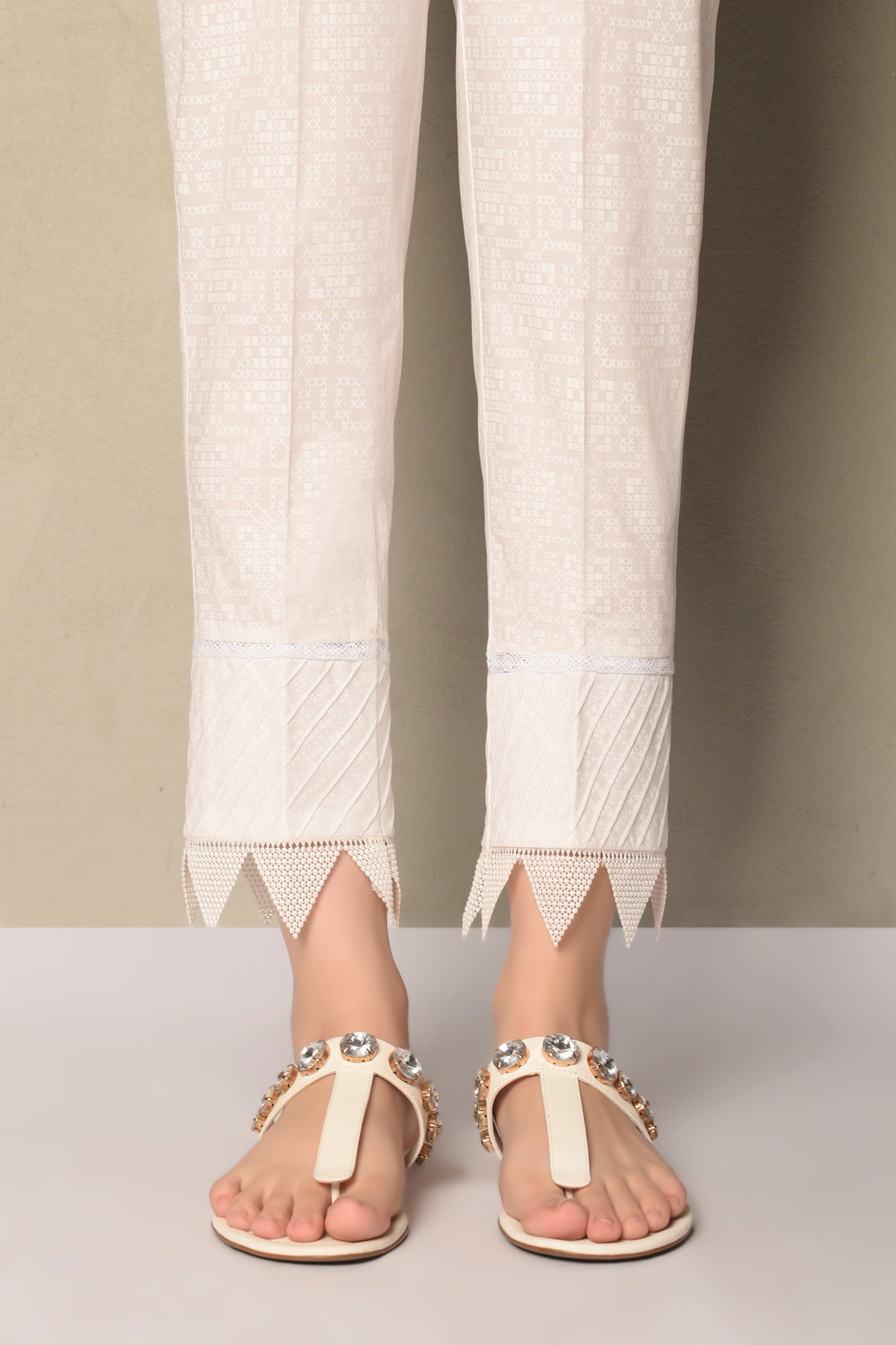 Ethnic Lawn Pant with Lace