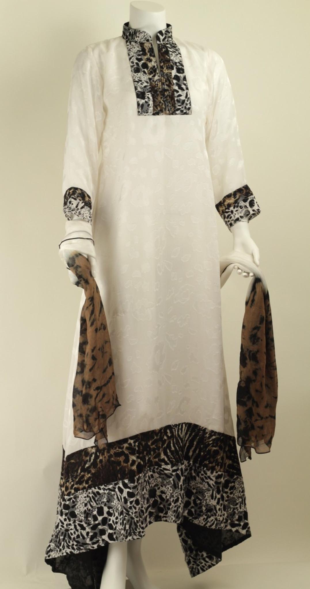 White Self print and Cheeta Print Dress