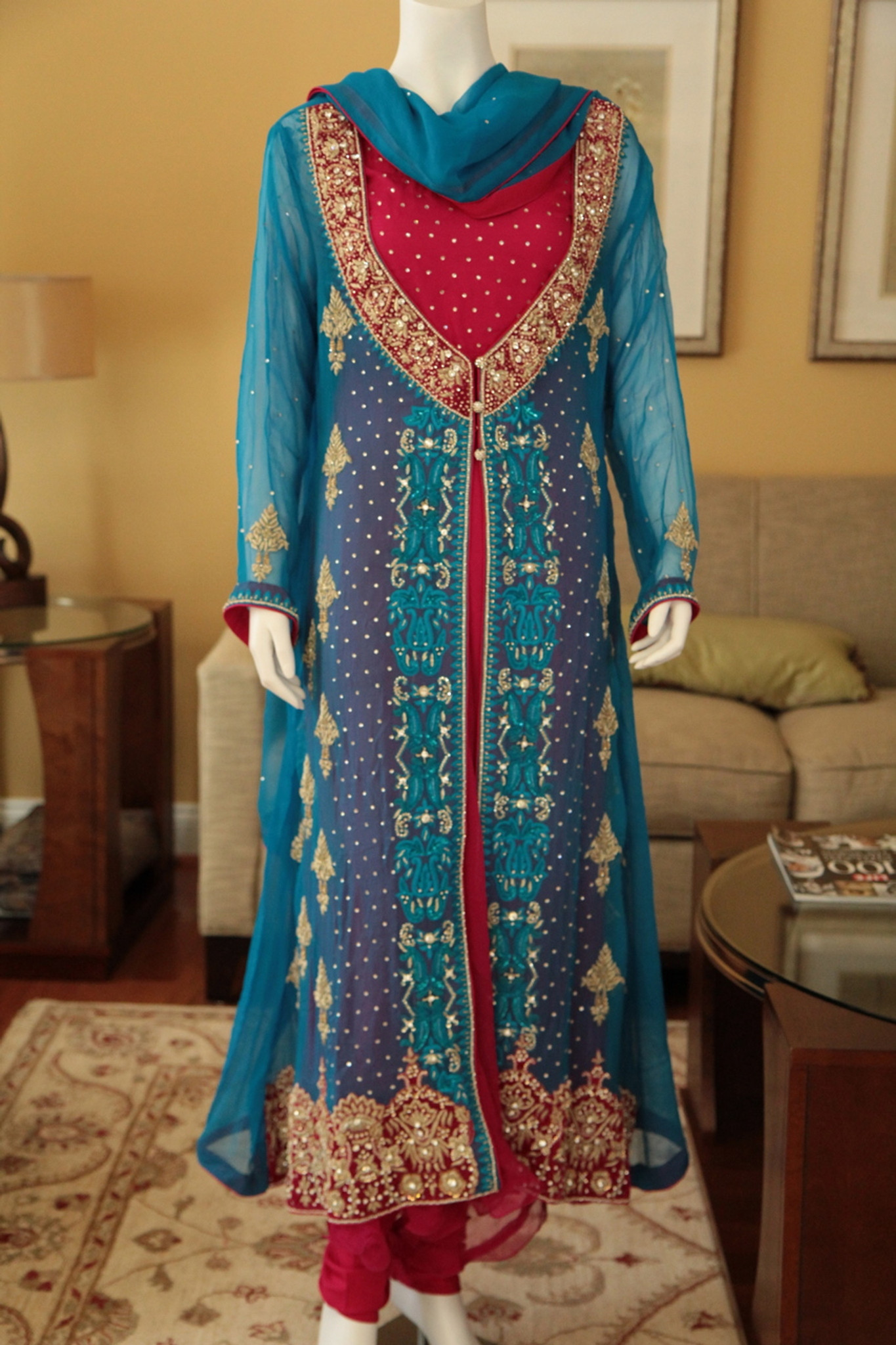 Shimmering Raspberry Pakistani Formal Dress