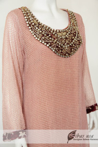 Pink Net Dress with mirrored neck