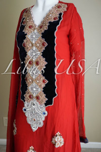 Red and Navy Blue Chiffon Dress with Stones