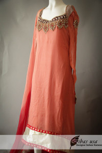 Peach Chiffon Dress with Red Stones