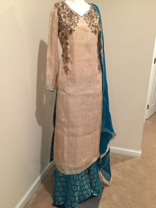 Golden and Turquoise Dress with Sharara