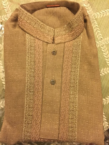 Brown Embroidered Boys Age 7 Shalwar Kameez