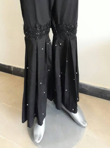 Black Silk Grip Gharara Pant
