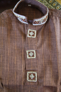 Brown Embroidered Boys Salwar Kameez Age 3