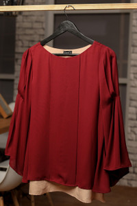 Two color crepe top