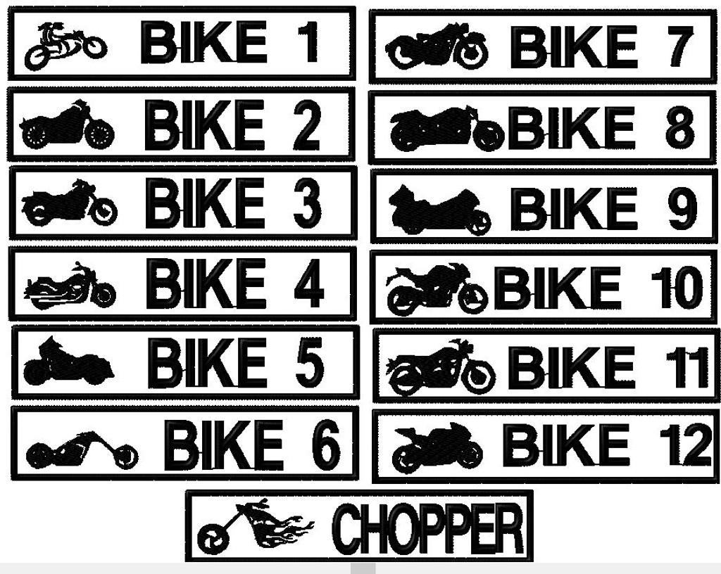 Bike Symbols for Custom Biker Nametapes