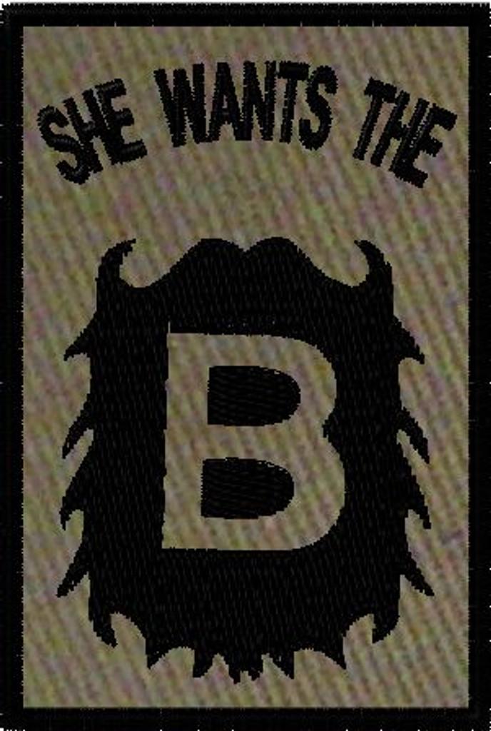 She wants the B custom VELCRO® Brand patch