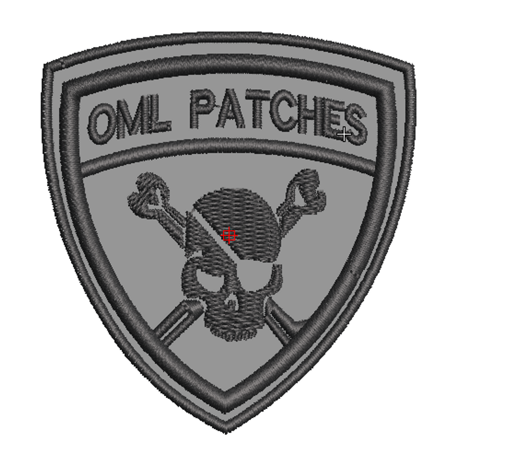 Team Template Pirate Patch In Grey With Black Thread Click Here To Enlarge