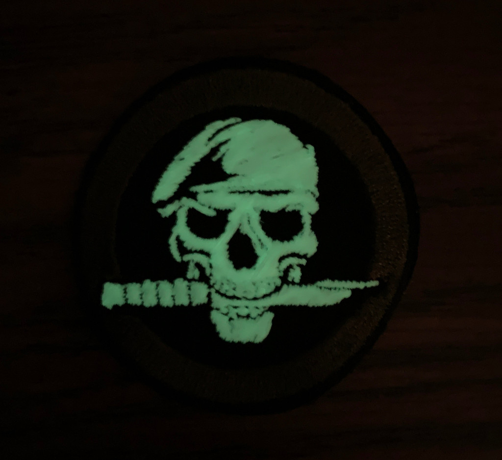 Glow Skull with knife Nighttime view velcro patch