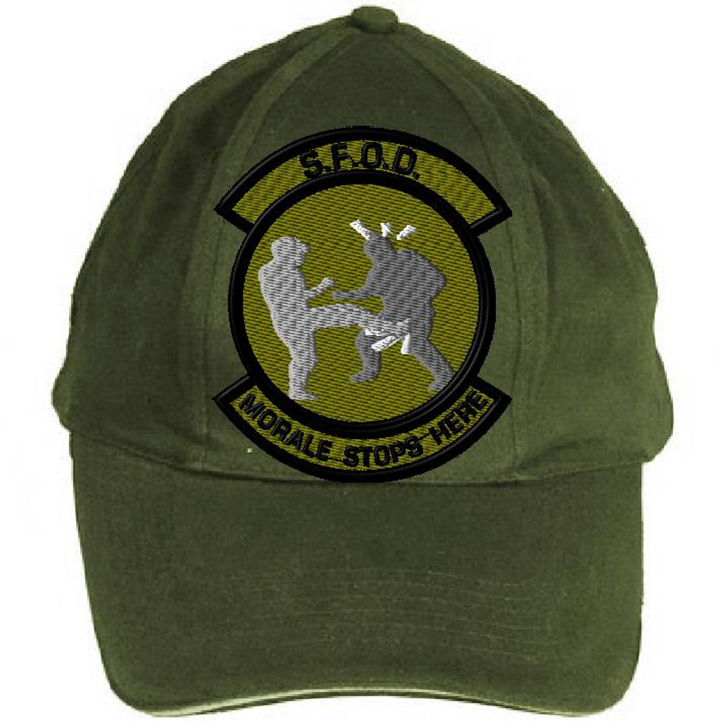 Morale Stops here 2 OD on hat