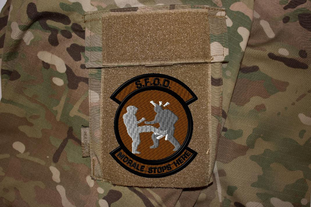Morale stops here 2 light brown background on multicam uniform