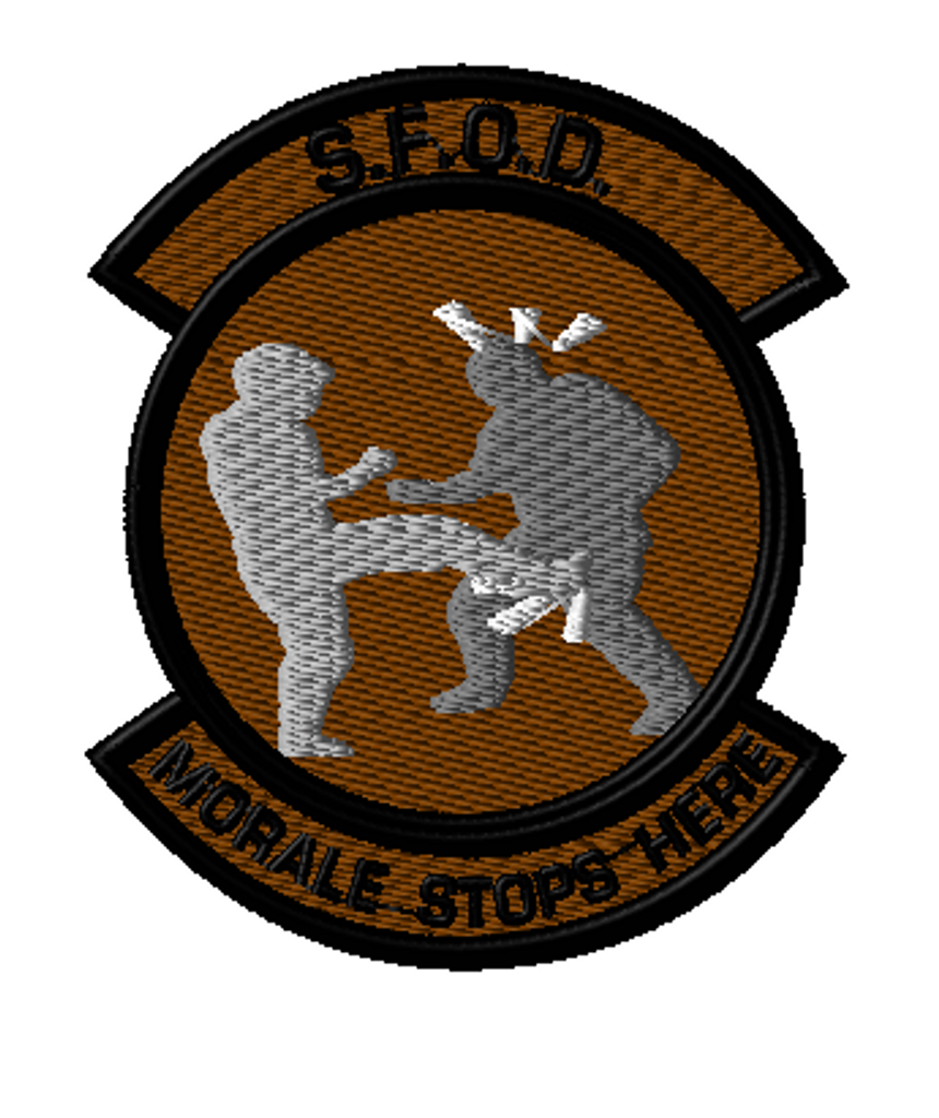 Morale Stops here 2 morale patch with brown background