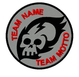 custom team template patch fire skull on grey