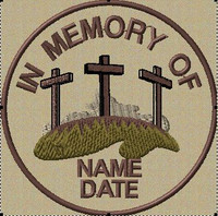 In memory of patch with crosses in Tans