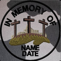 In memory of patch with crosses in urban