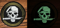 Glow Skull with knife Day and Night Views Morale patch