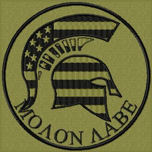 Molon Labe Patch US Flag Spartan Subdued OD