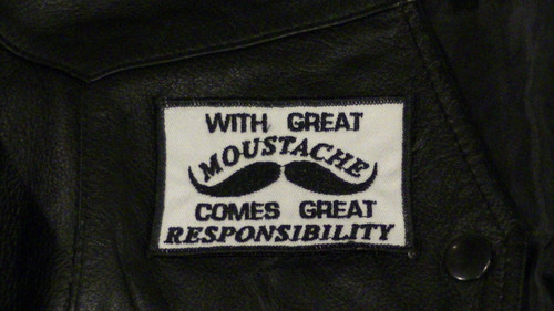 With Great Moustache Biker Patch