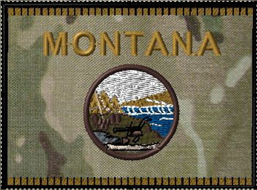 Montana State Flag with Camo background VELCRO® Brand patch