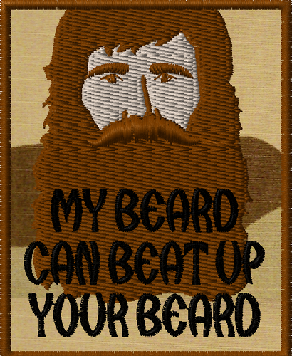 My beard can beat up your beard morale patch - brown beard on 3 color desert
