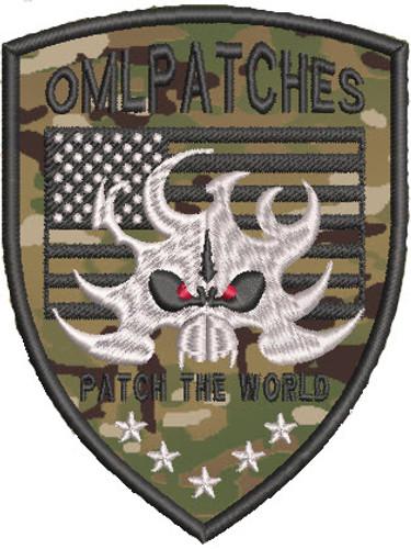 USA Flame Skull Custom Team Patch