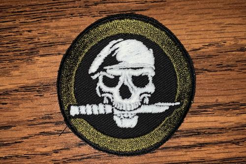 Glow Skull with knife daytime custom patch