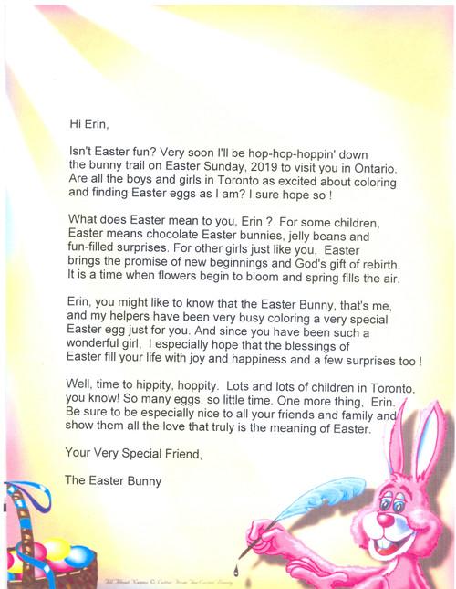 Letter from Easter Bunny Letter