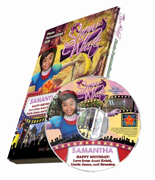Snow White Personalized DVD for Kids Case and Disc
