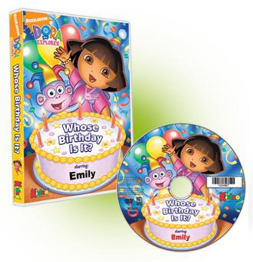 Dora the Explorer Who's Birthday Is It? Personalized DVD for Kids Case