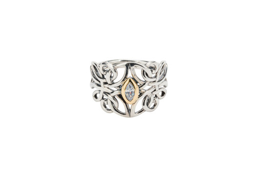 Sterling Silver + 10k Gold Cubic Zirconia Guardian Angel Ring