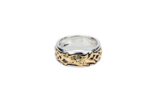 Sterling Silver Oxidized + 10k Gold with White Sapphire Dragon Ring
