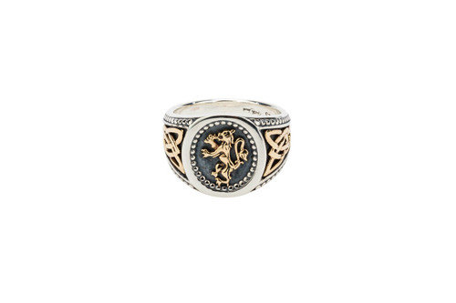 Sterling Silver Oxidized + 10k Gold Lion Rampant Large Ring (Tapered)