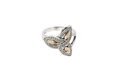 Sterling Silver + 10k Gold Trinity Cubic Zirconia Ring (Tapered)