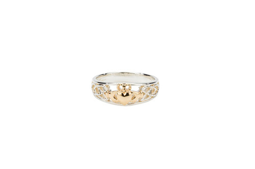 """Sterling Silver + 10k Gold """"Claddagh Small"""" Heart Ring (Tapered)"""