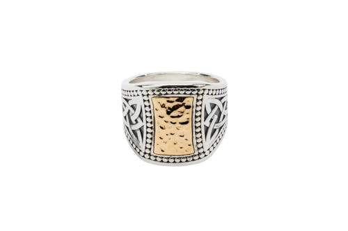 Sterling Silver Oxidized + 10k Gold Hammered Signet Ring (Tapered)