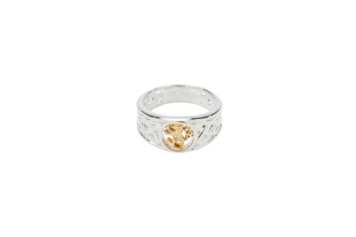 Sterling Silver + 10k Gold Lion Rampant Ring (Tapered)